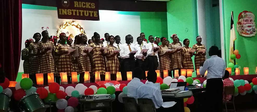 Ricks Choir sings during the anual Christmas Cantata